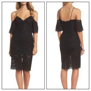 Bardot Black Cold Shoulder Lace Knee Length Dress